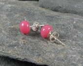 Pink Stud Glass Earrings / Children and Womens Jewelry / Kid jewelry / Dress Up Jewelry / Fused Glass Jewelry / Handmade in TX