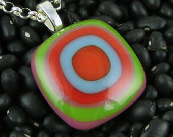 Sherbet Colors in Bullseye Design. Handmade Fused Glass Pendant. Glass Jewelry. Trendy Jewelry. Gift for her.