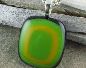 Retro Fused Glass Pendant in Black with Pea Green and Marigold Layers. Mod Jewelry. Fused Glass Jewelry. Handcrafted Glass Necklace Design.