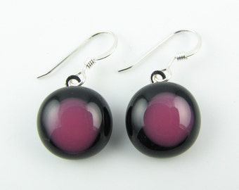 Black and Pink Fused Glass Earrings