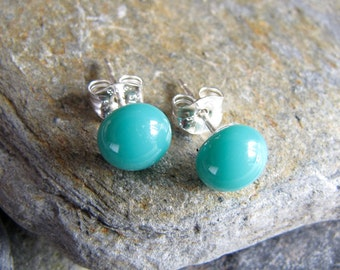 Teal Glass Stud Earrings. Fused Glass Jewelry. Everyday Jewelry. Simple Stud Earrings. Glass Jewelry. Handcrafted in Texas.