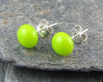Lime Green Glass Stud Dot Earrings.  Handcrafted Glass Jewelry.