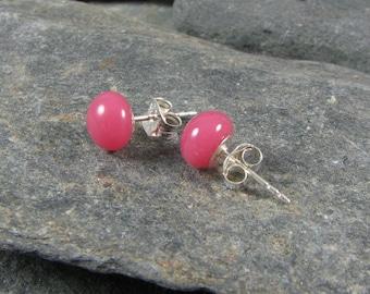 Pink Stud Glass Earrings / Children and Womens Jewelry / Kid jewelry / Dress Up Jewelry / Fused Glass Jewelry / Handmade in TX