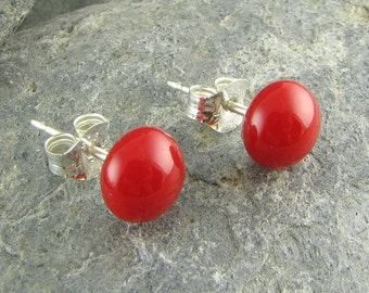 Red Stud Earrings. Fused Glass Jewelry. Glass Earrings. Red Studs. Glass Jewelry. Modern Earrings. Everyday Earrings. Handmade in Texas.