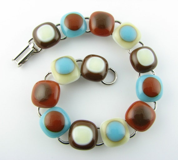 Fused Glass Bracelet in Turquoise, Caramel, Ivory & Brown