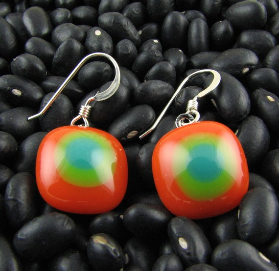 Fused Glass Earrings - Orange, Pea Green and Teal