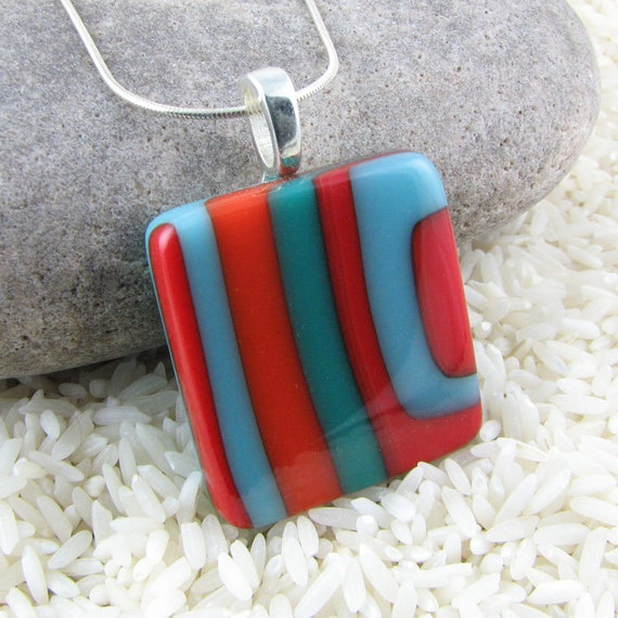 Orange, Turquoise and Teal Offset Layered Fused Glass Pendant