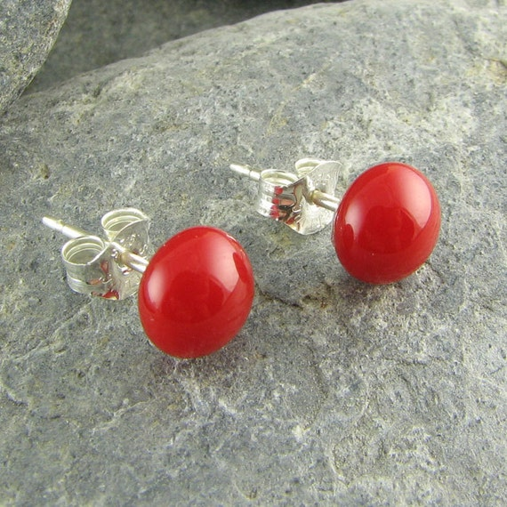Red Stud Earrings. Fused Glass Jewelry. Glass Earrings. Red Studs. Glass Jewelry. Modern Earrings. Everyday Earrings. Handmade in Texas.