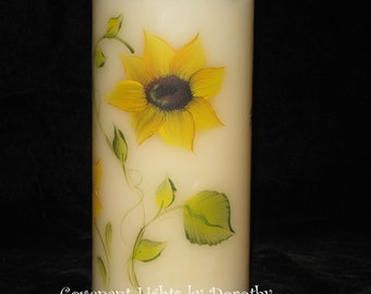 Flameless LED SUNFLOWER Candle - Hand Painted Sunflowers all around - with TIMER option