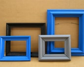 Dramatic Blue Picture Frame Set - 4pc Collection of Bright Blue, Black & Gray