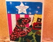 Dear Lord PLEASE protect our TROOPS original dog collage GREETING CARD
