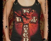 Devil driver shirt devildriver top death metal shirt alternative clothing lace up t-shirt altered band tee reconstructed rocker clothes