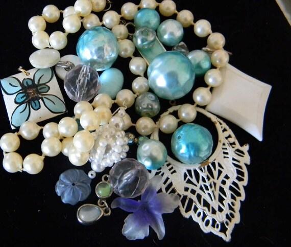 Destash Vintage Costume Jewelry Lot  Altered Art Mixed Media Repurpose Craft Scrapbook Turquoise creams