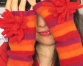 Red Sea Anemone Arm Warmer - made from felted wool sweater