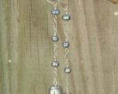Grey Skies - Grey Freshwater Pearls, Sterling Silver drop earrings