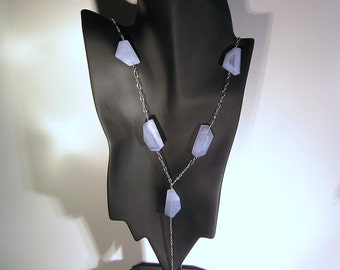 Hazy Days - Large, Freeform, Light Blue/White, Chalcedony Nugget, Sterling Silver, Rosary Stlye Necklace