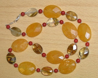 Yellow Dew Drops - Amber Jade, Red Coral, Fire Cherry Quartz, Sterling Silver Necklace