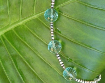 Got the Blues . . .Huge Aquamarine, Faceted Rounds, Peacock Pearls, Fluorite, Sterling Silver Necklace