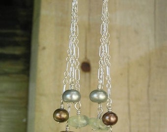 Mint Chocolate Chip - Prehnite, Smokey Quartz, Freshwater Pearl, Sterling Silver, Dangle, Earrings