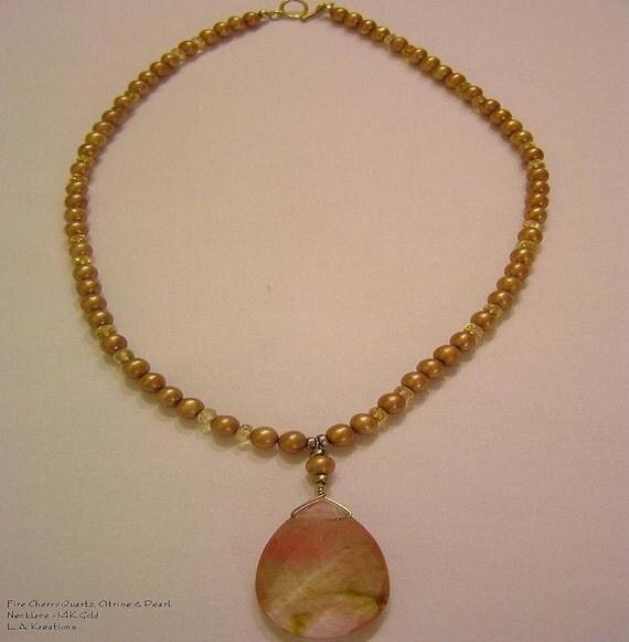 Golden Sunset - Beautiful Fire Cherry Quartz Faceted Tear Drop Pendant, Bronze Freshwater Pearl, Citrine, 14K Necklace