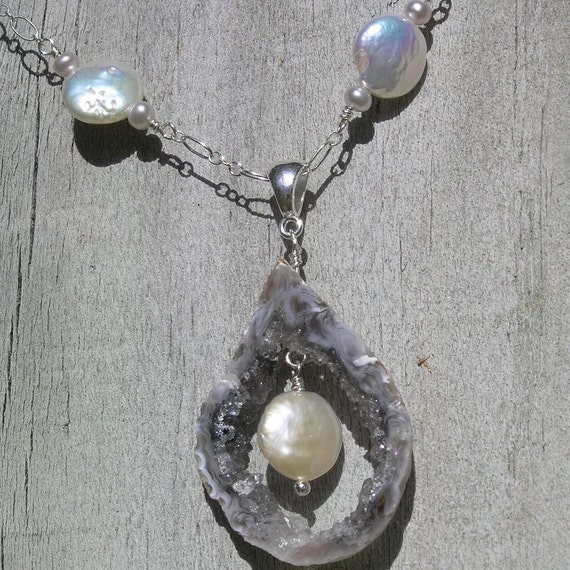Pearls ROCK - Coin Pearl, Crystal Quartz Geode Slice, freshwater Pearl, Sterling Silver Necklace