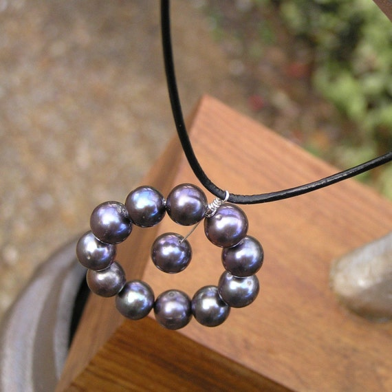 Endless - Leather, Black, Freshwater Pearl, Sterling, Necklace