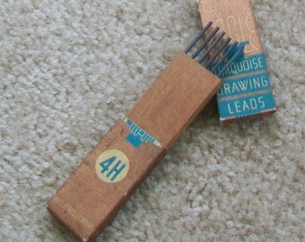 Vintage Eagle turquoise drawing leads in box size 4-hard, art architecture drafting mixed media