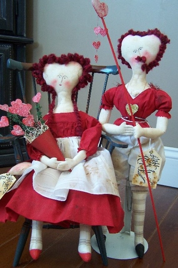 OOAK King and Queen of Hearts Cloth Doll SET