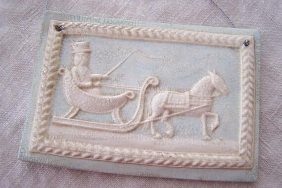 OoaK hand pressed mache Currier & Ives Sleigh Ornament