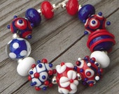 "Handmade lampwork beads, red, white and blue, ""Patriot"""