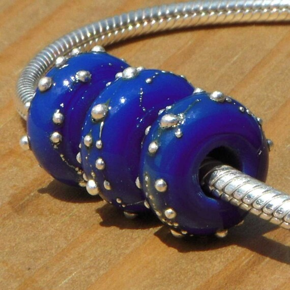 """Lampwork beads trio for add a bead chains, """"Cornflower Contrails"""""""