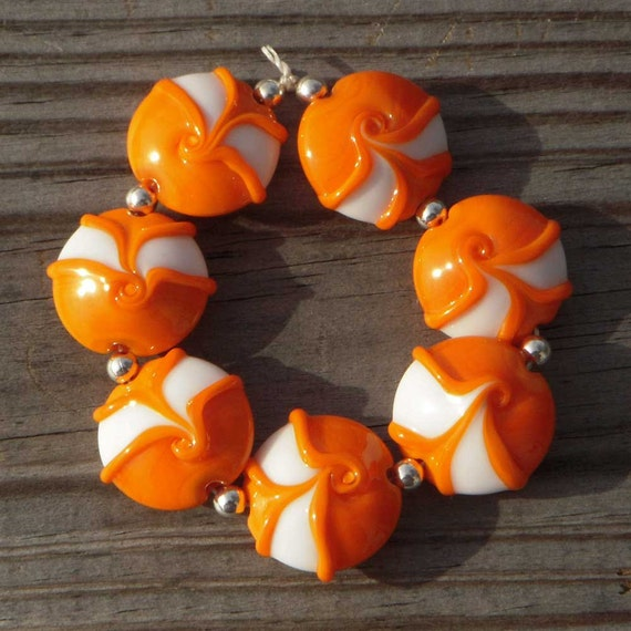 "Lampwork beads orange and white lentils, ""Juicy"""