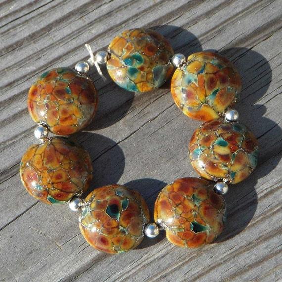 """Handmade lampwork beads, topaz, lentils, """"Honey Roasted"""""""