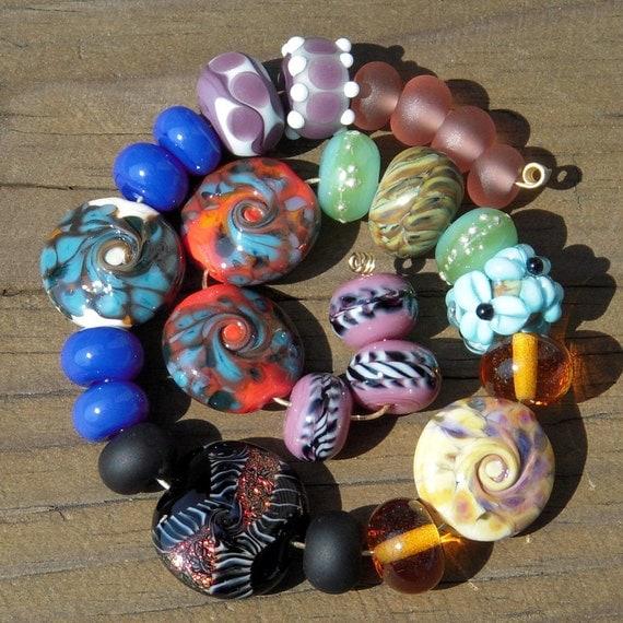 Handmade lampwork beads...Overflow Twenty-five