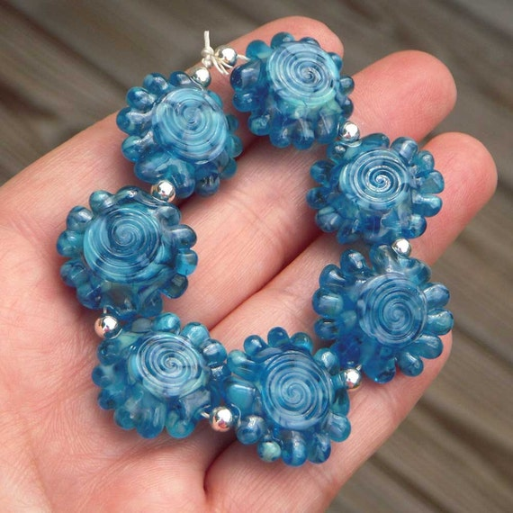 "Handmade lampwork beads, aqua blue, ""Aruba 2"""