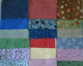 """Set of four inch 4"""" charm squares 50 all different calico floral prints vintage fabric too"""