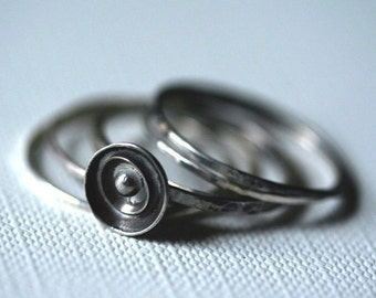 Sterling Silver Stacking Rings, Flower and  Four Plain Rings