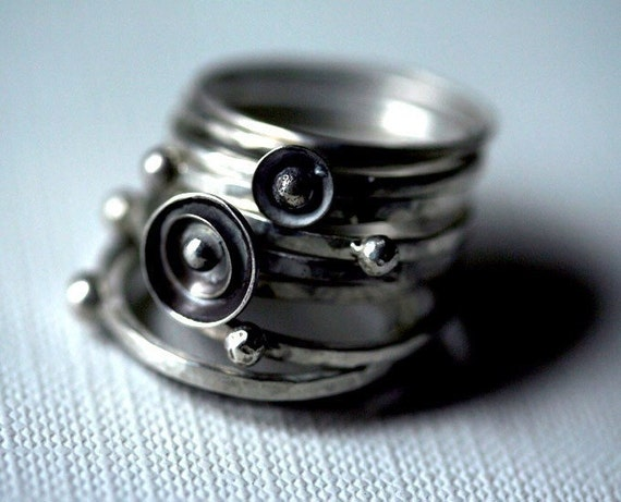 Sterling Silver Stacking Rings, Tall