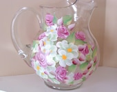 Pitcher pink roses beautiful water jug shabby chic pretty in pink assorted blossoms  juice pitcher garden party patio pitcher Hand Painted