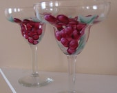 Red Grapes Margerita Glasses Hand Painted