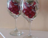 Red Grapes Wine Glasses Hand Painted