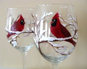 Cardinal Wine Glasses, Snow covered Branches,Winter bird, Christmas, Red Bird, Bird Lovers,Bird Watchers,Hand Painted