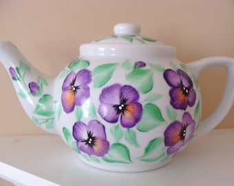 Pansy Teapot hand painted