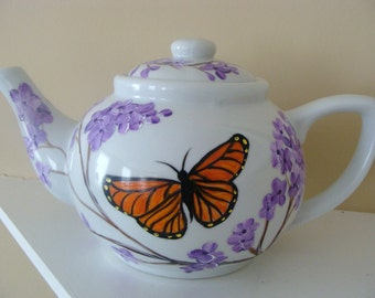 Butterfly Teapot with lilacs,monarch butterfly,orange black purple,floral,flowers,entertaining,tea, serving,housewarming gift,wedding gift