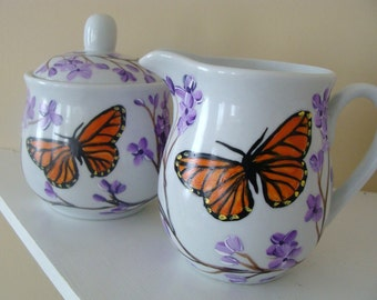 Monarch Butterfly and Lilacs Cream and Sugar Hand Painted