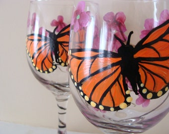 Monarch Butterfly and Cherry Blossom Wine Glasses