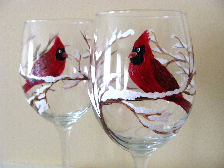 cardinal wine glasses snow covered brancheswinter bird. Black Bedroom Furniture Sets. Home Design Ideas