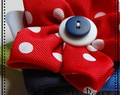 Justice For All Double Cosmo Ribbon Flower Hair Clip Red White Blues