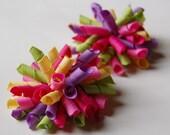 Sweet as Sugar Mini Korkers Set of 2 Hair Bows Raspberry Pink Purple Yellow Green