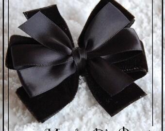 My Little Darling Black Velvet Black Satin Hair Bow